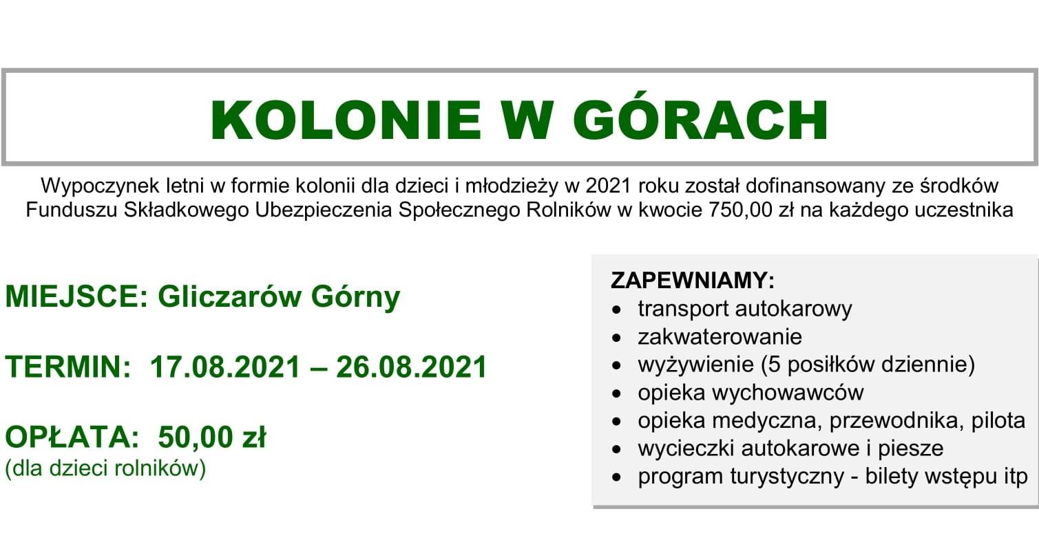 Ilustracja do informacji: Oferta kolonii w Gliczarowie Górnym