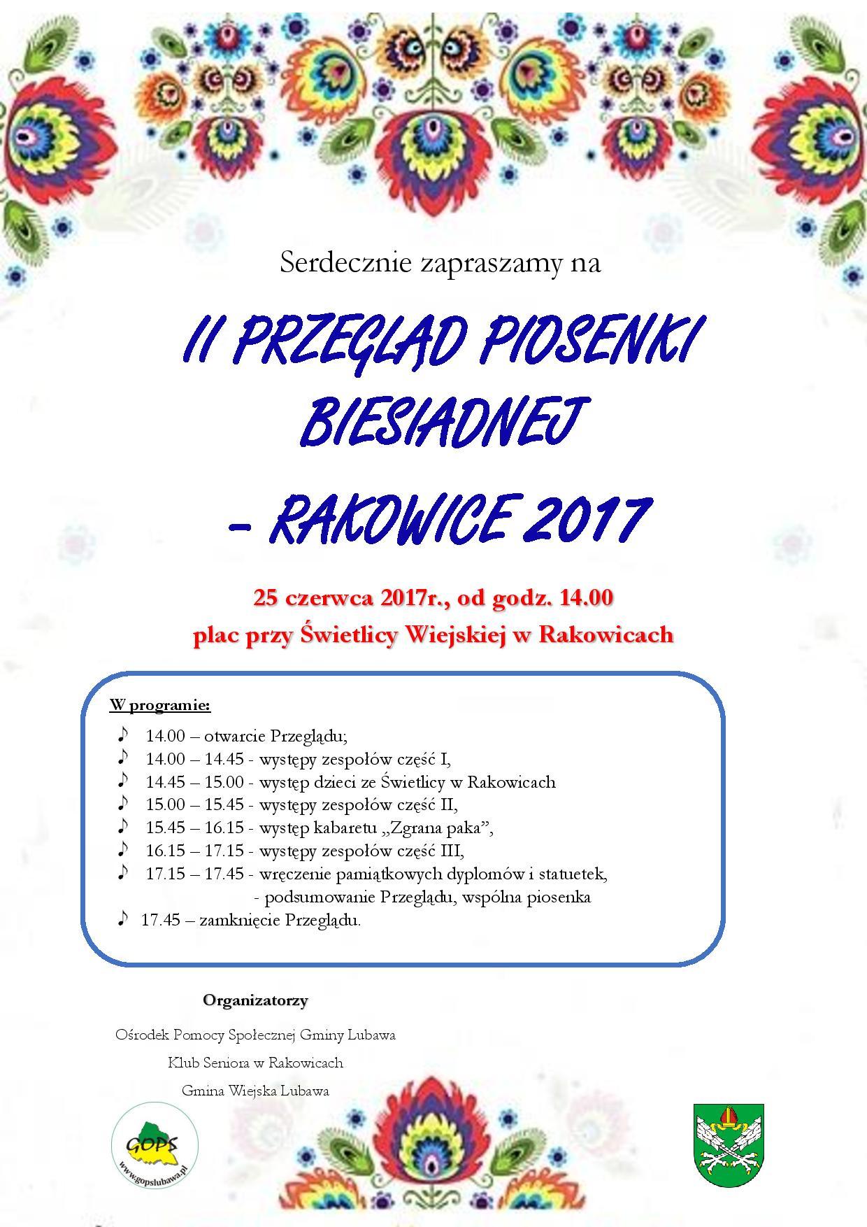 Ilustracja do informacji: II Przegląd Piosenki Biesiadnej w Rakowicach